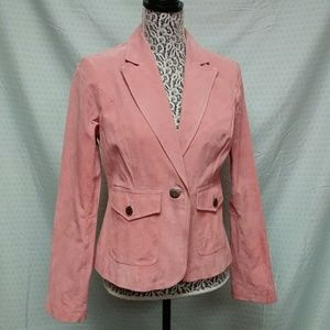 Ladies Pink leather one button blazer